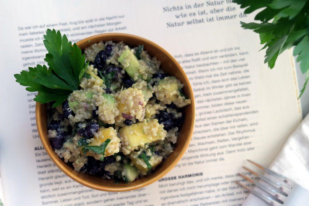 Ich bereite mir diesen Quinoa-Bohnen-Salat mit Mango und Avocado gerne zu und weiß, dass ich die nächsten Tage ein leckeres und gesundes Essen im Kühlschrank habe. Vegan und glutenfrei versteht sich!